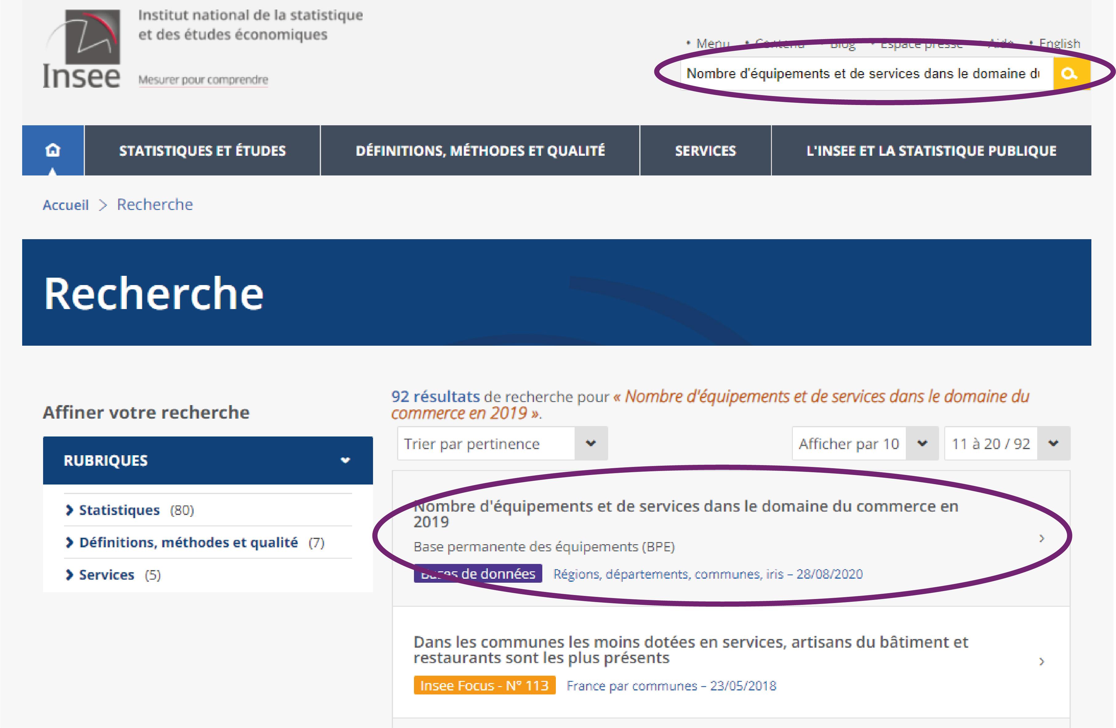 Site de L'INSEE, recherche globale
